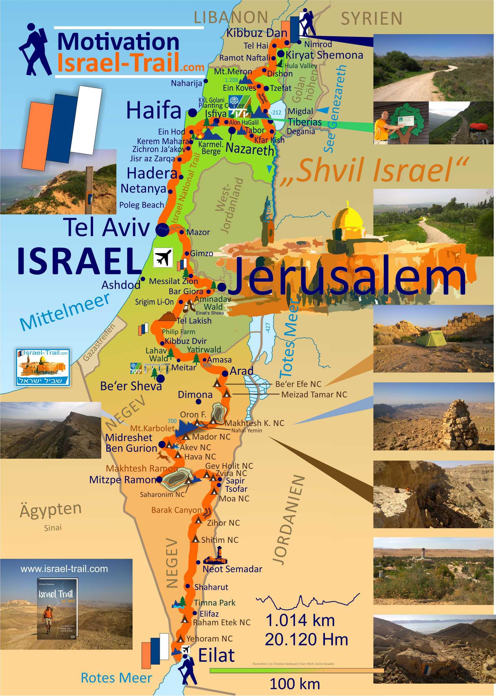 Übersichtskarte zum Israel National Trail